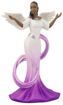 Graceful Angel with sash in purple - figurine
