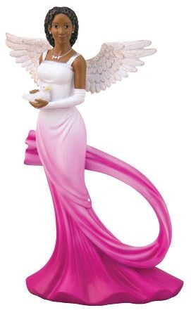 Graceful Angel with sash in fuchsia - figurine