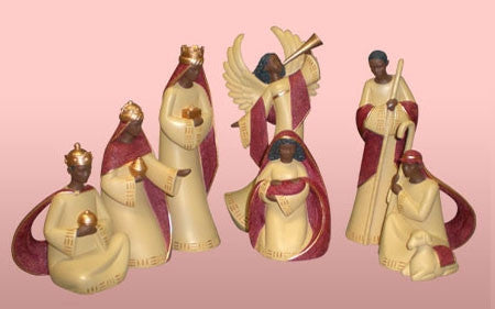 Nativity Scene in cream and red - 7-piece set