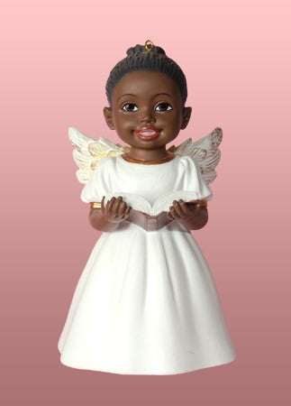 angel ornament singing praise white dress - African American Christmas Decorations