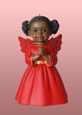 Angel Ornament-Figurine - Prayer - red dress
