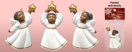 Cherub flat style ornaments in white with star - set of three