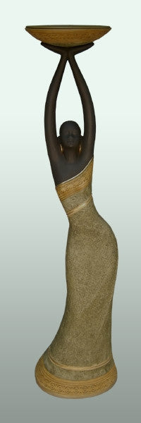 Votive Holder - Woman in tan-A - figurine