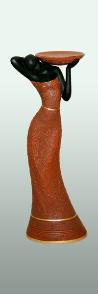 Votive Holder - Woman in brown-C - figurine
