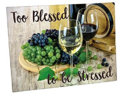 Too Blessed To Be Stressed cutting board