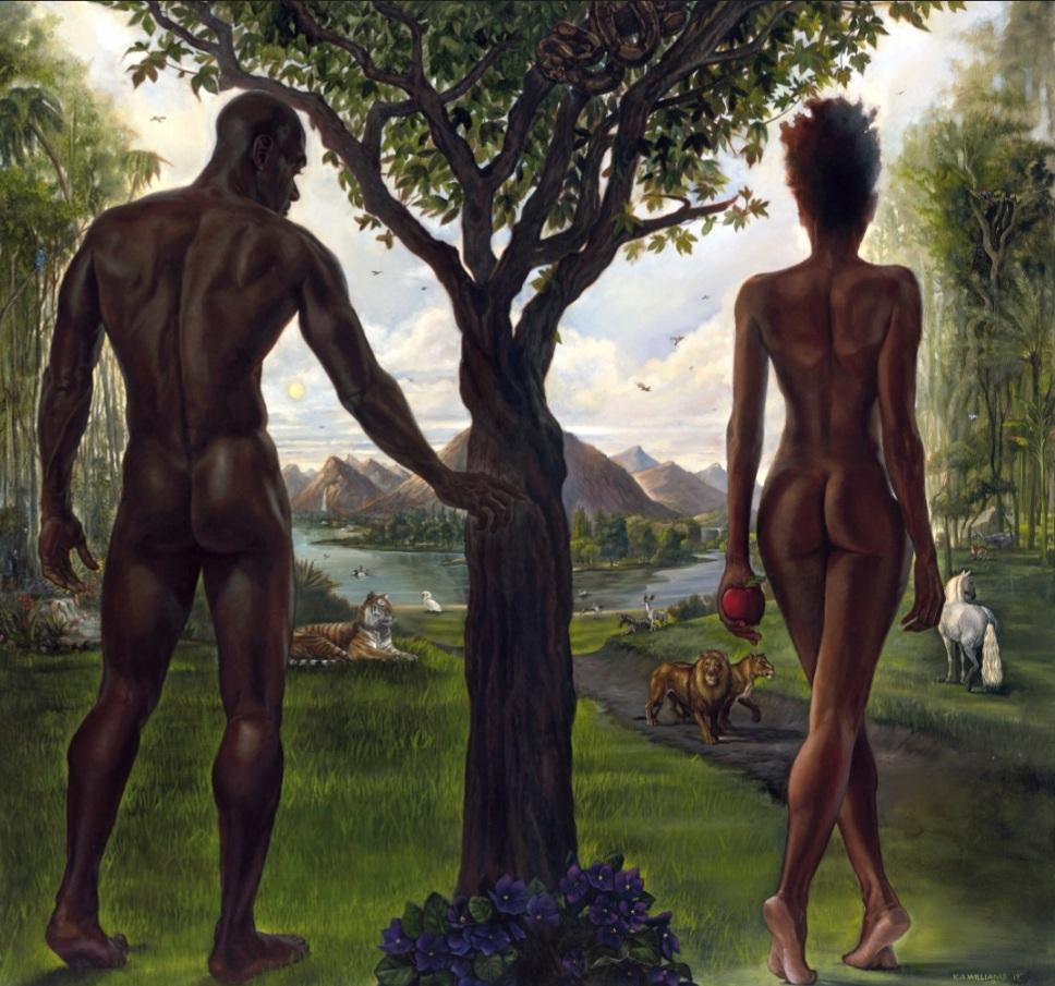 Adam and Eve - 48x48 - giclee on canvas - WAK