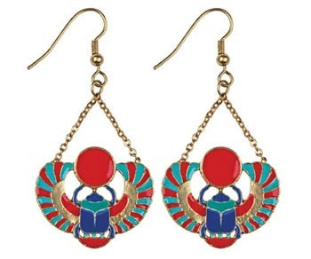 Winged Scarab Earrings