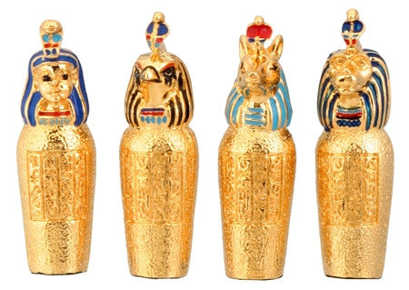 Ancient Egyptian Miniature Canopic Jars (set of 4)