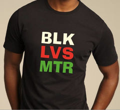 Black Lives Matter - t-shirt - black with colored letters