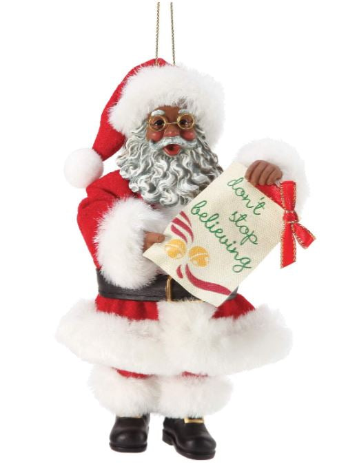 Dont Stop Believing - Black Santa ornament