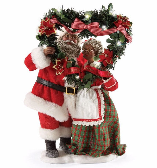Evergreen Love - African American Mr and Mrs Santa Claus