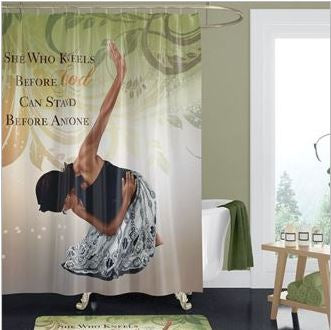 She Who Kneels - shower curtain