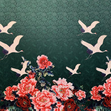 Load image into Gallery viewer, Crane Floral Print Panel - Emerald (per panel)
