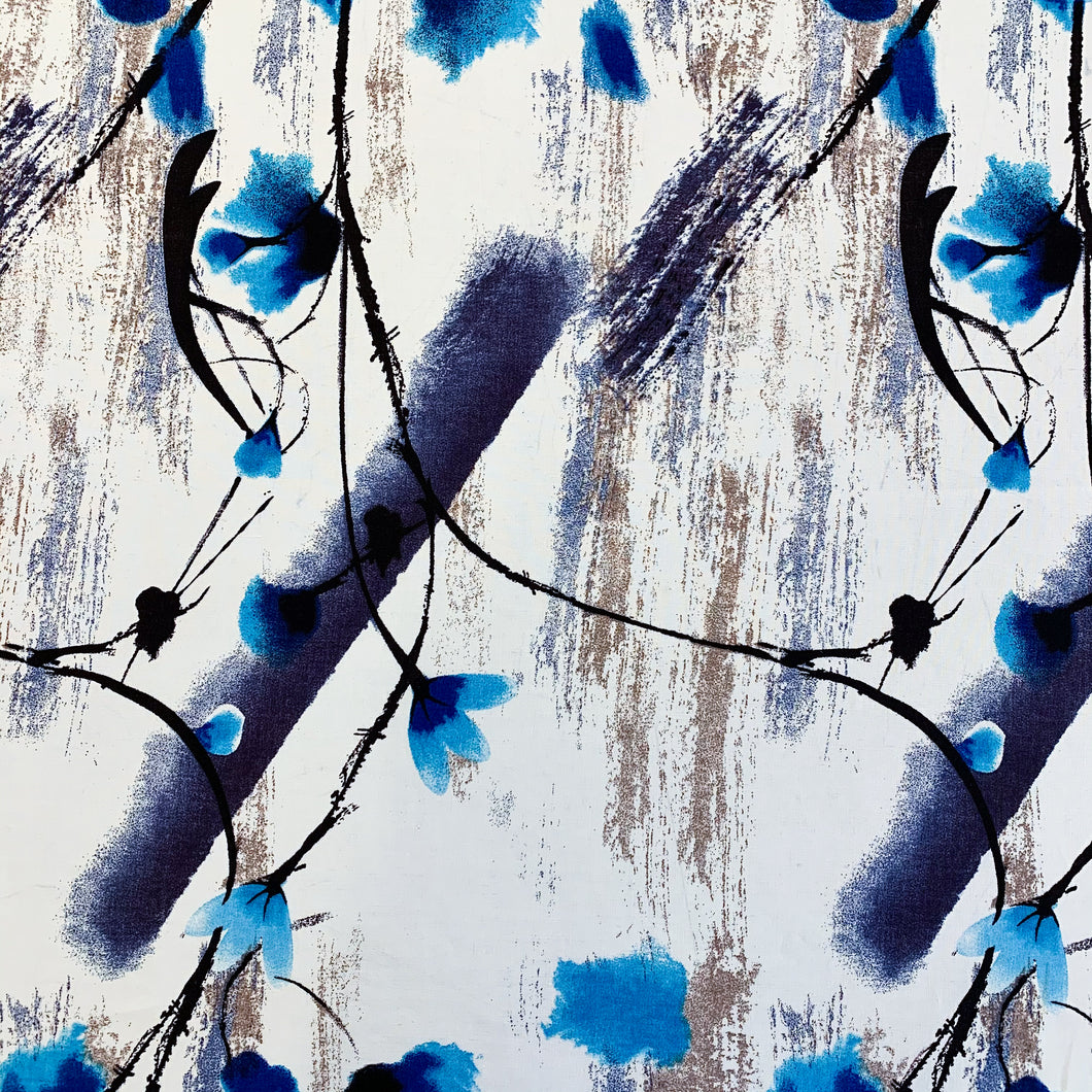 Brush Blossom Voile Print - Blue