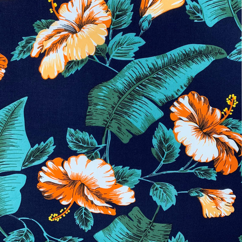 Tropical Blue Challis Print - Navy