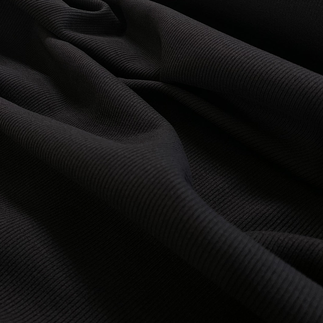 250gsm Cotton Spandex Rib - Black