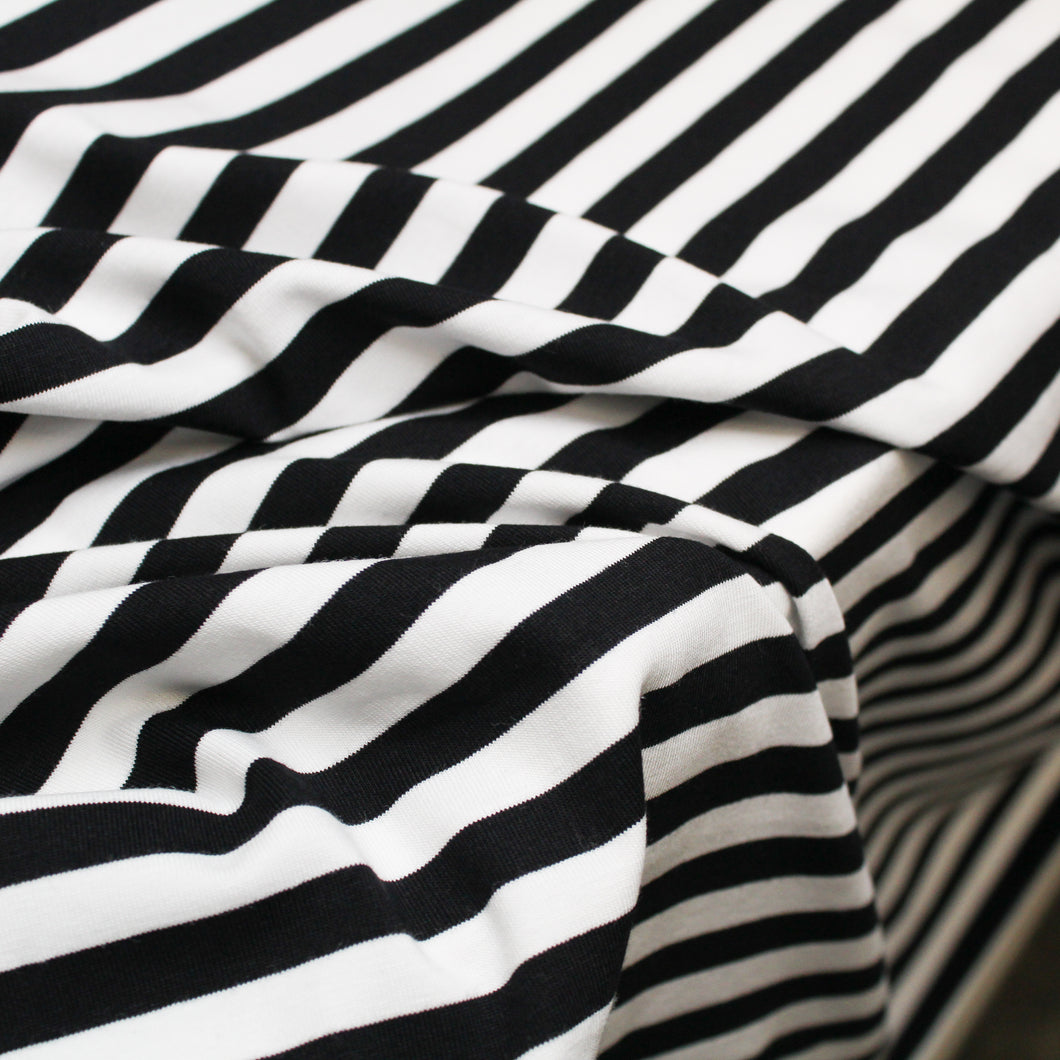 Cotton Spandex Mini Stripe - Black/White