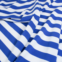 Load image into Gallery viewer, Cotton Spandex Stripe - Royal/White