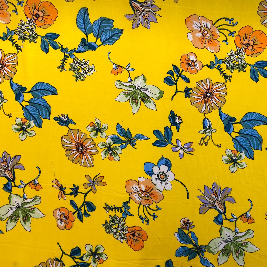 Tropical Floral Challis Print - Sunshine
