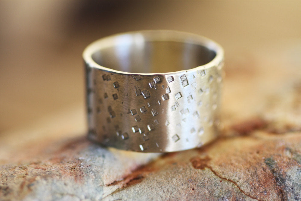 Sterling Silver wide Textured band