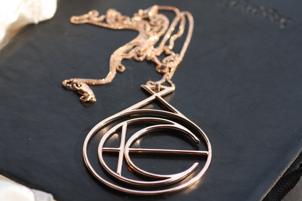 Rose Gold Necklace / Solid gold pendant / Unique design pendant / 14K Rose gold chain / Personalised necklace