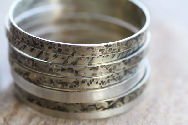 Sterling Silver bangle Set of 5, Textured silver bangles
