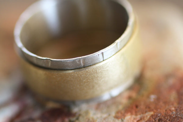 Sterling Silver and Brass Spinner band