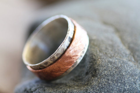 Sterling Silver and Copper Spinner band