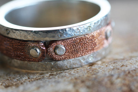 Sterling silver and Copper textured band