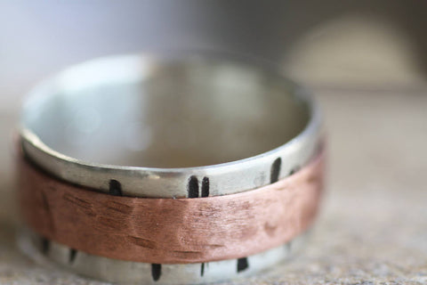 Sterling Silver and Copper Spinner textured band
