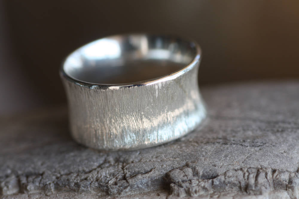 Sterling Silver textured wide band