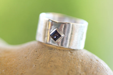 Sterling silver wide band/Iolite gem Sterling Silver ring/Woman's wide band/Handmade ring/White gold plated band/Square Iolite on Silver