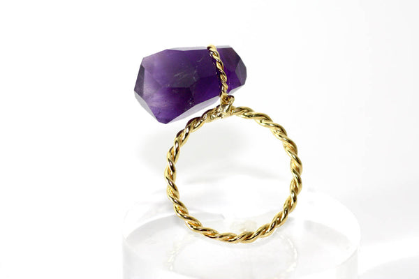 Amethyst Gold K18 wire ring, Handcrafted Amethyst February Birthstone ring