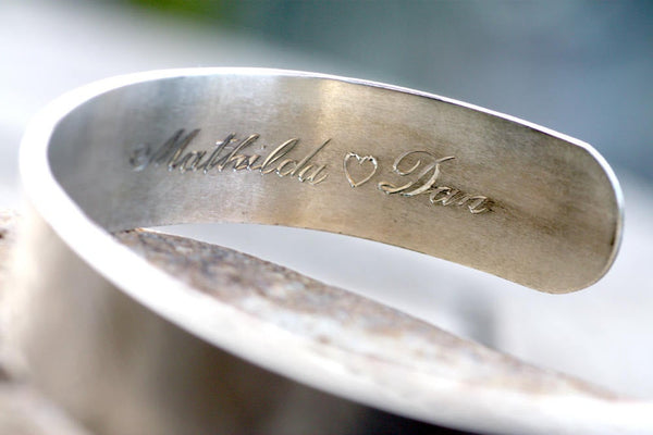 Sterling Silver Cuff Bracelet, Personalised textured Cuff