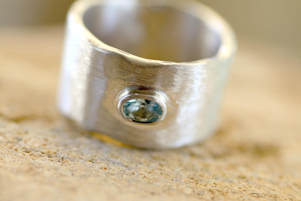 Aquamarine mounted on Sterling Silver ring
