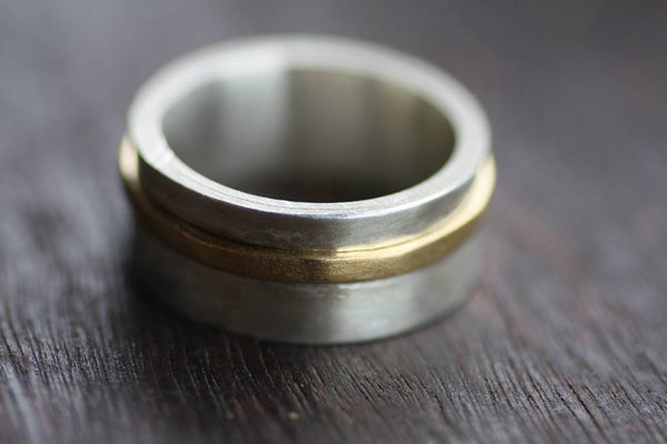 Sterling silver and Brass wide band