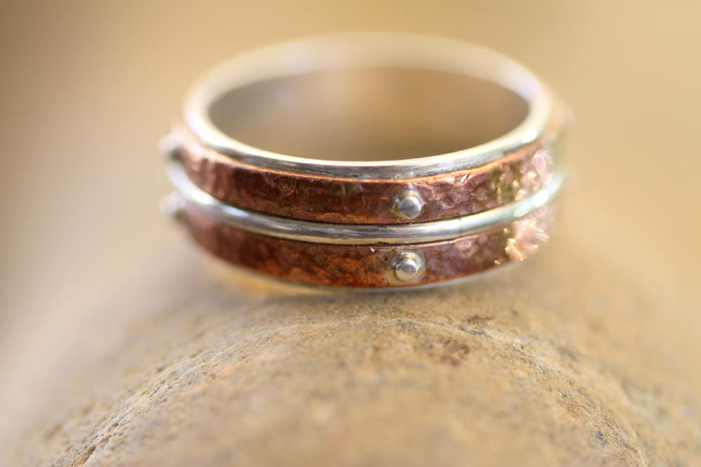 Layered Sterling Silver and Copper band