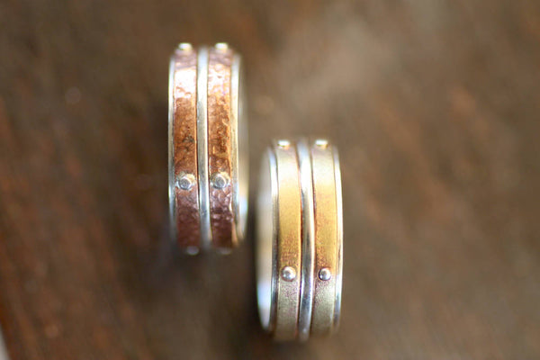 Sterling Silver and Brass band, Two metal ring