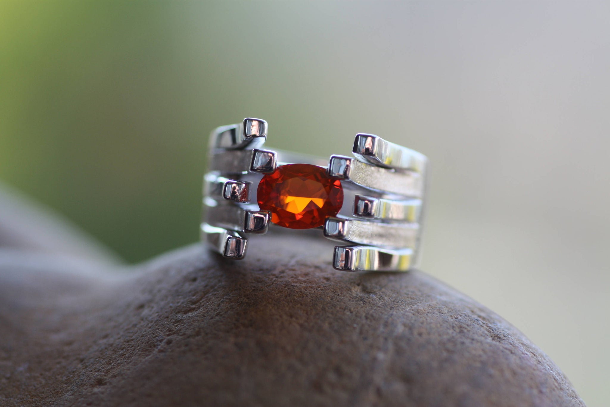 Fire Opal Sterling Silver ring, White gold plated