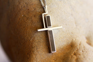 White Solid Gold Cross Necklace