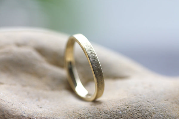 Wavy Personalized Gold Stacking Ring, Textured thin wedding ring