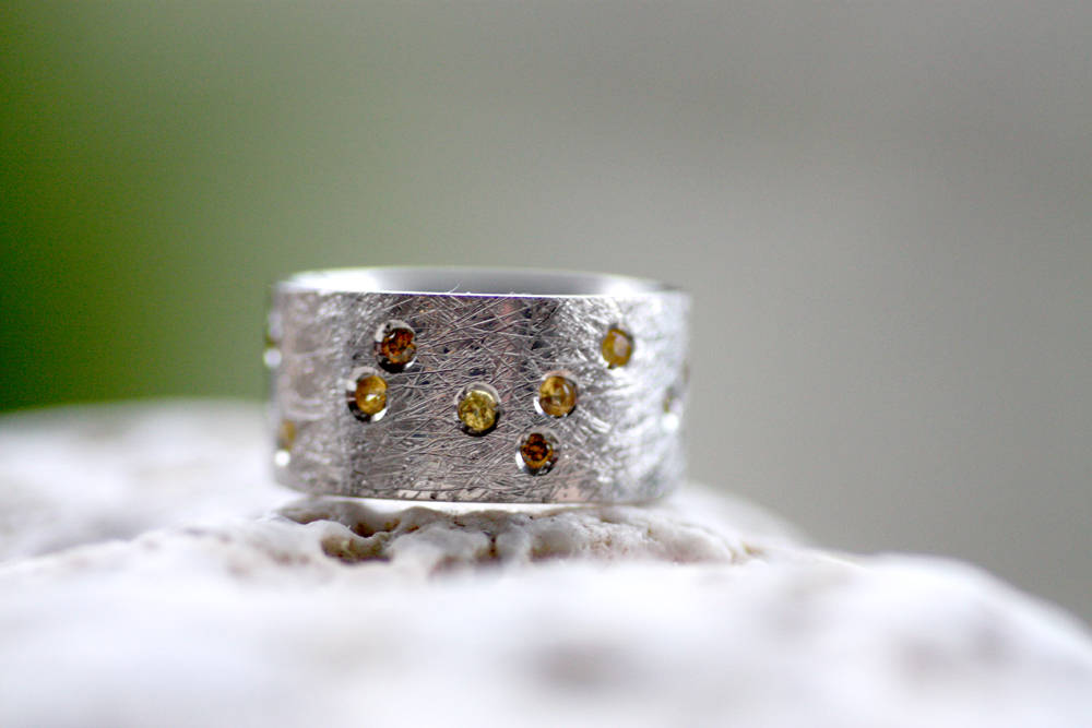 Yellow sapphires Cognac diamond ring  Engagement Multi-Stone Rings