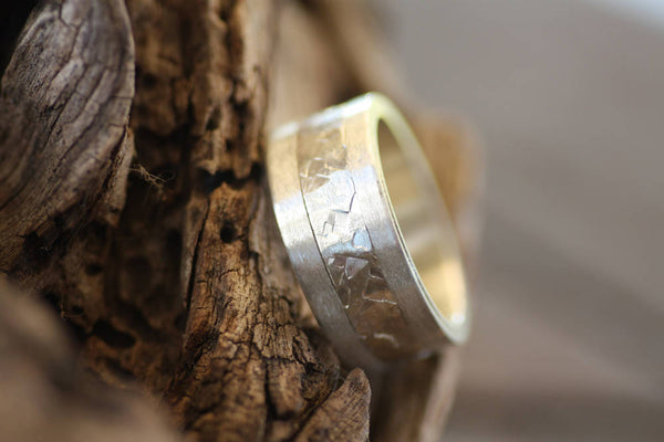 Man's Sterling Silver hammered ring/Textured band/Man's handmade band/Woman's custom ring/Personalised ring /Engraved ring/Two tone band