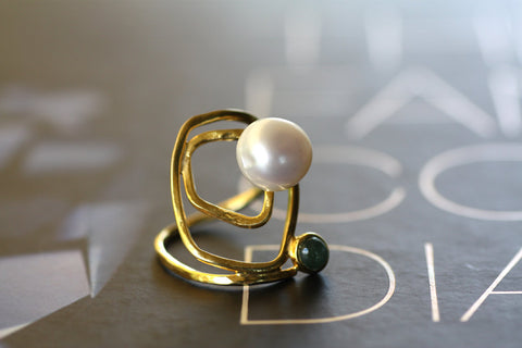 Fresh water Pearl and Tourmaline ring, Sterling Silver yellow gold plated