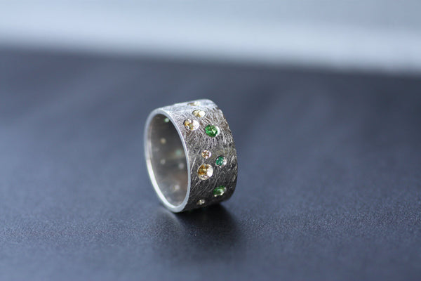 Tsavorite and Emeralds, Diamonds Sapphires Multi stone Rings / May birthstone ring / Engagement ring