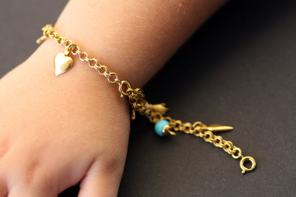 Charm bracelet, Pontic solid gold bracelet, Traditional pontic wish bracelet, nine wishes Bracelet, Baby jewel, Baptism wish bracelet