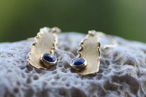 Sterling Silver earrings, Lapis Lazuli stones, Yellow gold plated