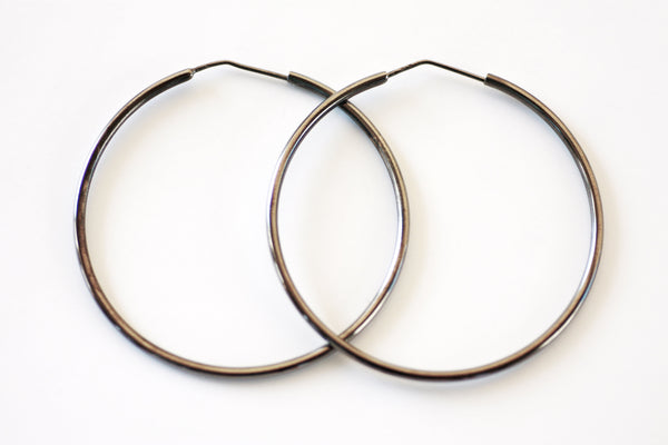 Bridesmaid hoops earrings, Gift for Best friend, Medium hoop earrings, Summer black large thin hoops