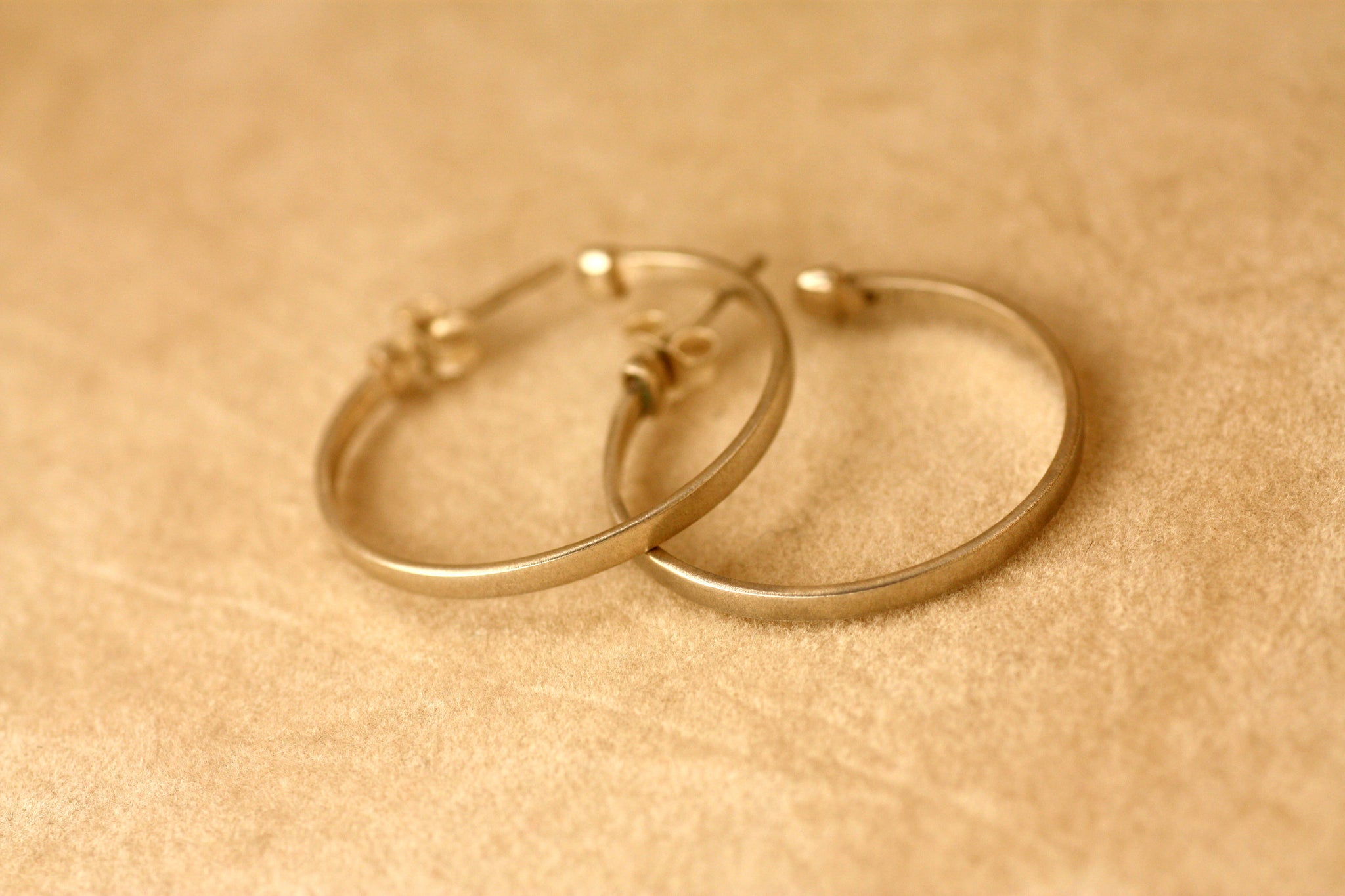 Hoop Silver Earrings, Handmade Gold plated Hoops