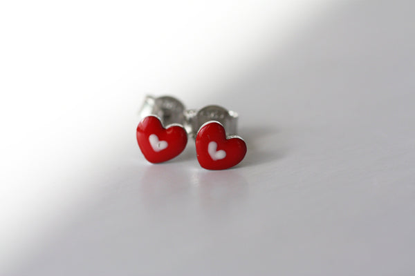 Tiny Hearts Enamel earrings, Kids Dainty earrings